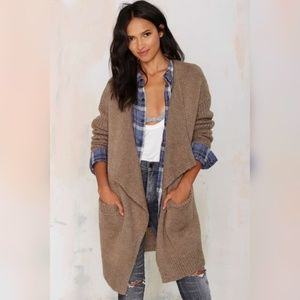 Taupe Drape Chunky Knit Sleeves Cardigan
